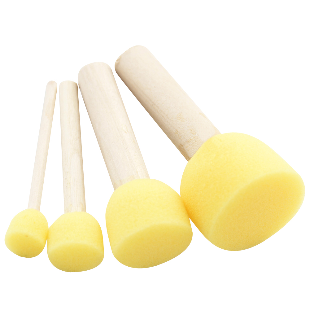 Online coloring with paint brush - 4pc Lot Yellow Sponge Paint Brush Seal Sponge Brush Wooden Handle Children 39