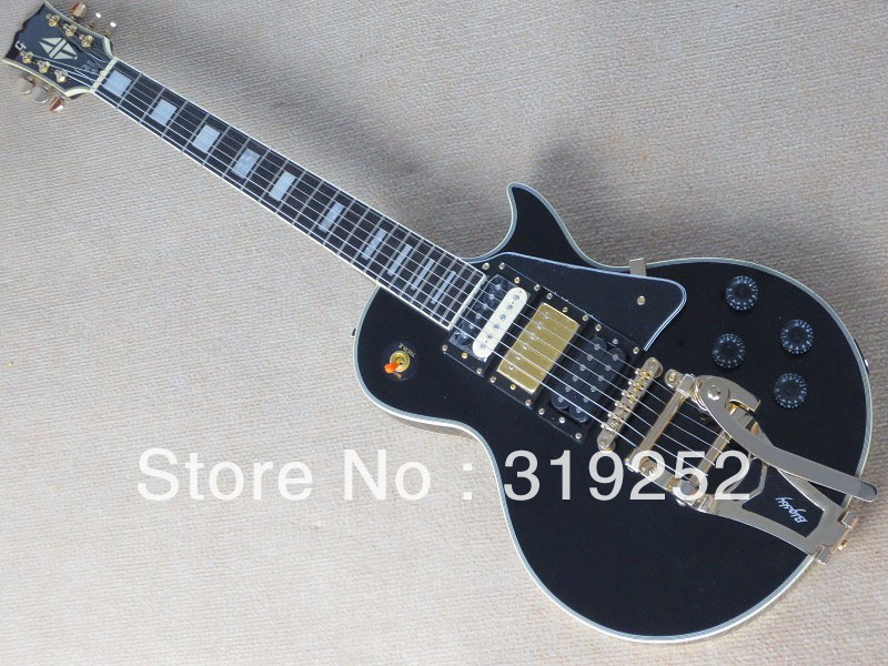 Free shipping Factory Wholesale Top Quality G LP Custom vamp vibrato Bigsby Tremolo black Jazz Electric Guitar(China (Mainland))
