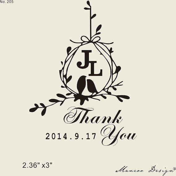 "Custom love birds rubber stamp 2.36"" x3"" Custom Thank You Stamp initial your Favors custom rubber stamp(China (Mainland))"