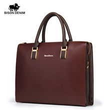 Bison Denim Imported Genuine Leather Brand Briefcase Unisex Business Bag Lawyer Document Bag(China (Mainland))