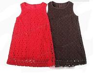 Baby girls dress popular red frock Little girls dress Stylish simple children clothes party Pierced fantasias infantis menina