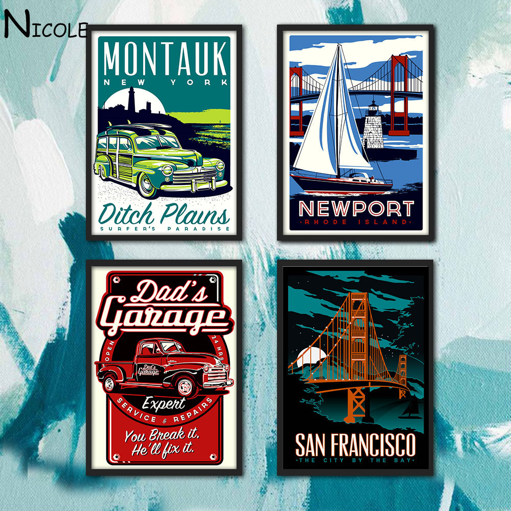 Vintage Poster Hot Rods Car Art Canvas Minimalist Print San Francisco Cityscape Picture for Home Living Room Decor Sailboat(China (Mainland))