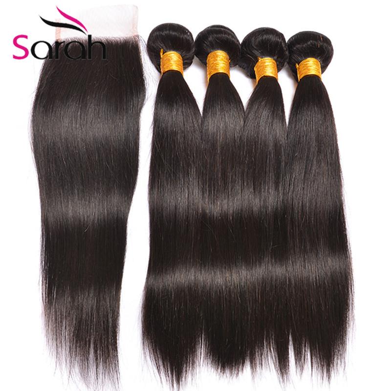 7A Brazilian Virgin Hair Straight With Closure Brazilian Virgin Hair 4 Bundles With Closure Alimoda Human Hair 5 Pcs/Lot<br><br>Aliexpress