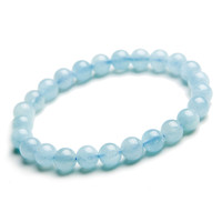 Wholesale 7mm Genuine Natural Blue Aquamarine Quartz Crystal Round Beads Jewelry Stretch Charm Bracelet For Women