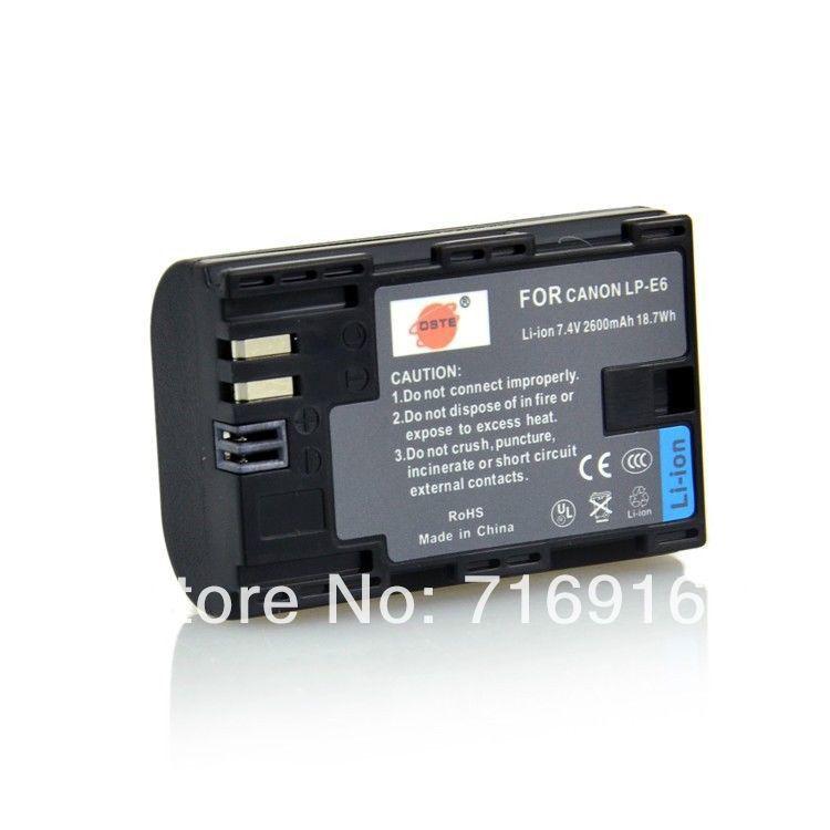 2600mAh LP-E6 LPE6 Battery Canon 5D Mark III 6D 7D 60D Show battery level - Monday Li's store