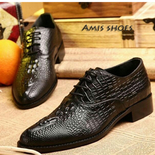 big size 45 HOT! Tide brand British retro shoes ,Business brand men's dress genuine leather shoes,Crocodile cow leather oxfords(China (Mainland))