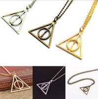 FREE SHIPPING New Fashion Metal Necklace Film Movie Harry potter Deathly Hallows Necklace&Pendants For Women Men Gift Jewerly