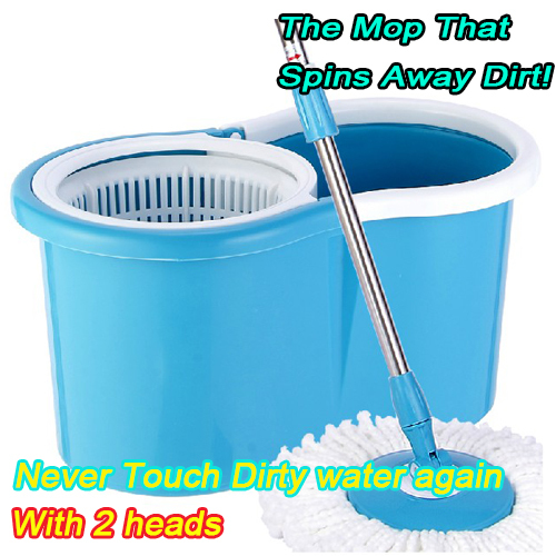 Hot Sale Magic Mop 360 Degree Spin Mop Set Home with 2 heads Dropping Shipping(China (Mainland))