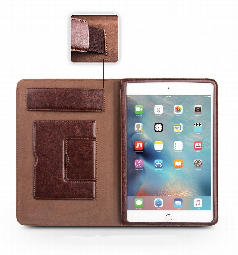 Classic Book Cover Ipad Mini : Qialino classic genuine leather vintage cover case stand