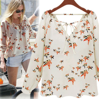 Lady's Summer Casual Floral Chiffon Top Long Sleeve Soft Tether Blouse 5K3L