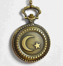 Buy Antique Bronze Muslim Turkish Flag Design Moon Star Circle Quartz Pocket Watch Necklace Clock Pendant Chain Men Women Gift for $3.16 in AliExpress store
