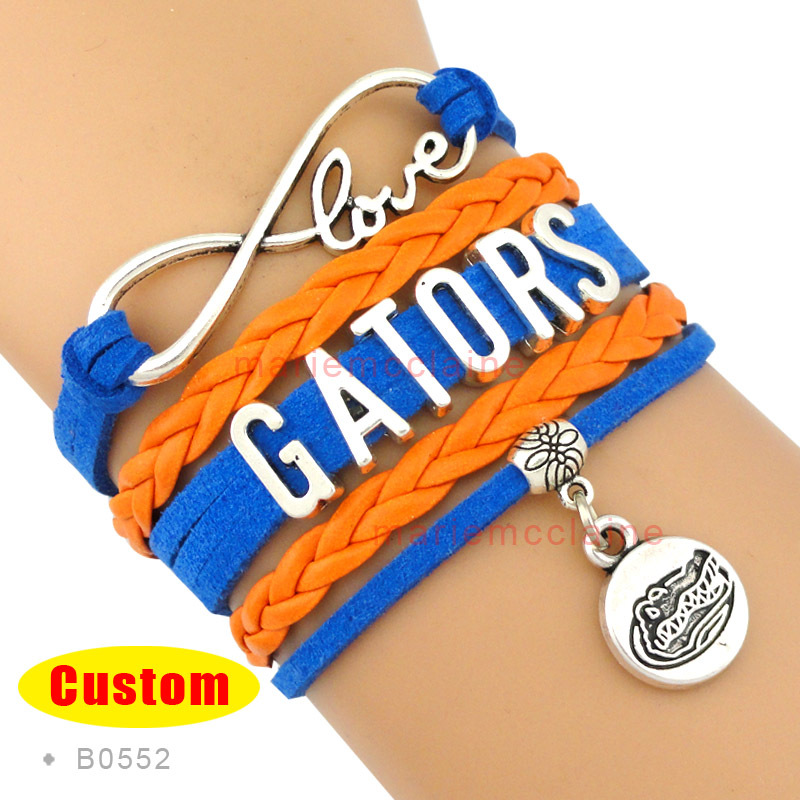 (10 Pieces/Lot) Infinity Love Florida Gators Team Bracelet National Collegiate Athletic Association Orange Blue Customizable(China (Mainland))