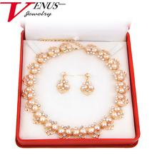 Fashion Imitation White Natural pearl Jewelry Sets Rhinestone Necklace Earrings Bracelet Ring Wedding Party Jewelry Sets(China (Mainland))