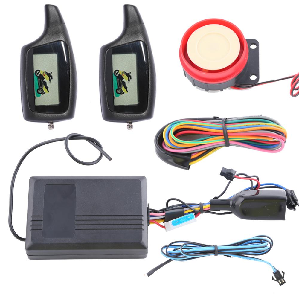 Economic durable LCD 2-way motorcycle alarm system remote engine start starter shock sensor & adjustable sensitivity - Easyguard electronics Ltd store