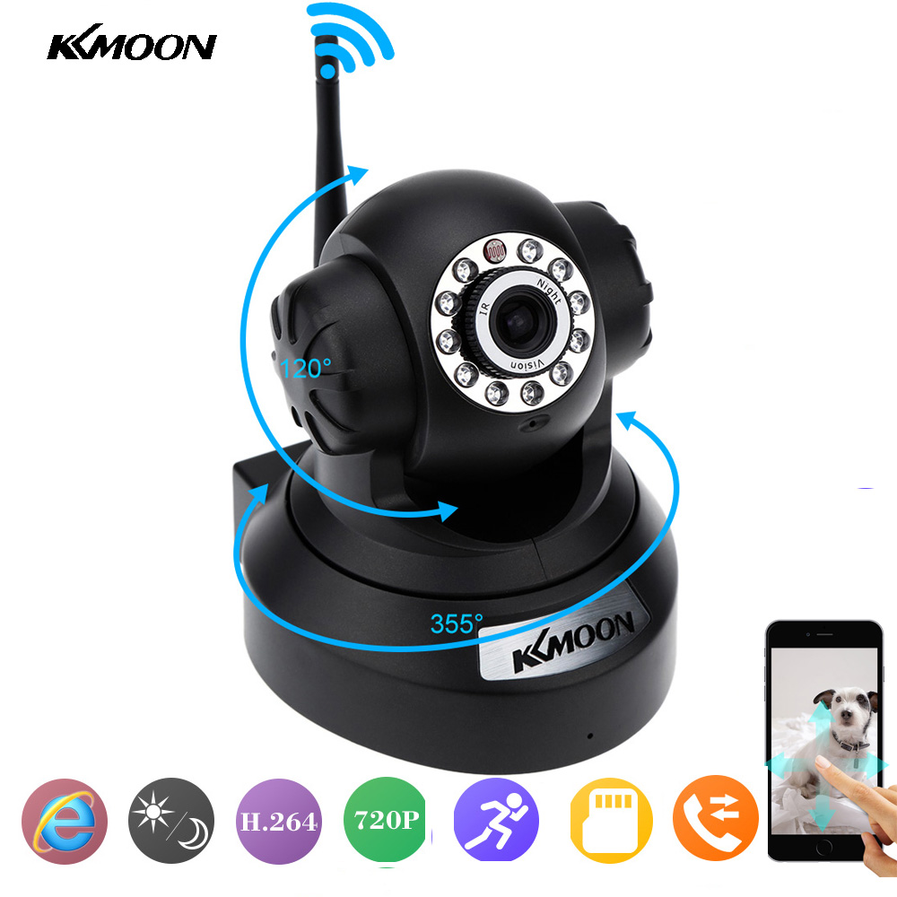 KKMOON 720P Wireless IP Camera Wifi P/T IR Cut Network CCTV Security Camera Two-Way Audio Night Vision Wifi Camera TF Card Slot(China (Mainland))