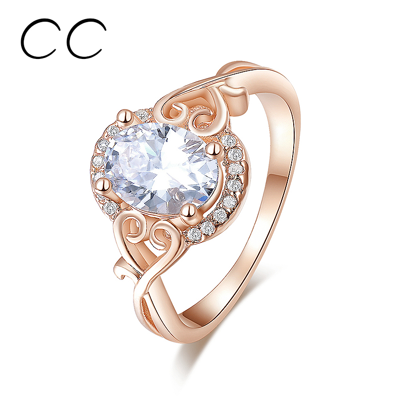 Fashion jewelry rose gold plated engagement party ring for women korean bijoux femme bagues with zirconia diamond jewelry CC157(China (Mainland))