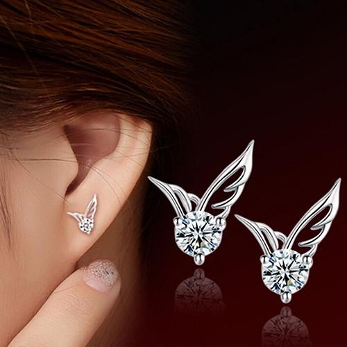 Brand New Womens Fashion Jewelry Designed Angel Wings Crystal Silver Plated Ear Stud Earrings<br><br>Aliexpress