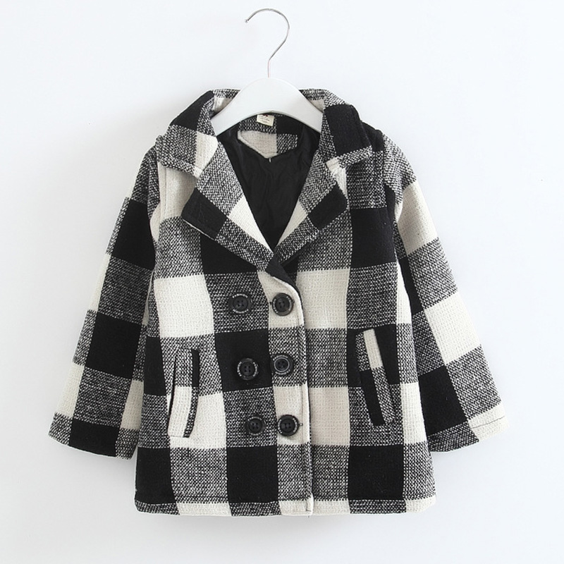 2016 new arrival Girls Winter Coats Kids Plaid Outerwear children clothing jackets grid casual clothes
