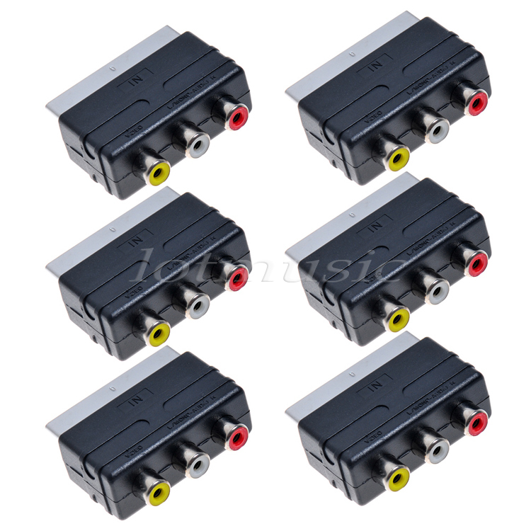 6pcs Scart to 3 RCA AV Adapter ConverterSwitch For TV DVD VCR,C3020,IN(China (Mainland))