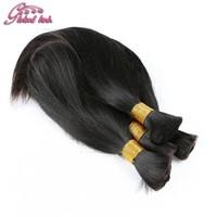 Mixed Length 4Pcs/lot Hair Natural Brazilian Straight Human Hair for Micro Braiding Hair Bulk No Weft No Attachment FreeShipping