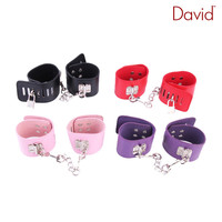 Davidsource Adjustable Leather Lockable Handcuffs Metal Chian Bondage Kinky Fetish BDSM Sex Dominated Gear Adult Sex Toy