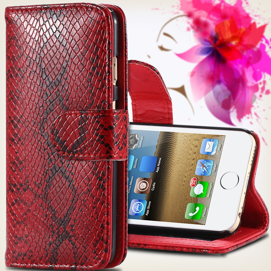 2015 Brand New Luxury Retro Sexy Snake Skin Leather Case For Apple iPhone 5 5S Flip Protective Mobile Phone Cover For iPhone 5(China (Mainland))
