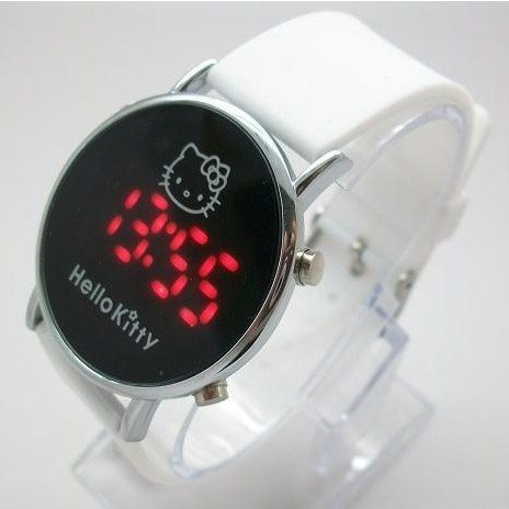 christmas holiday sale Wholesale Hello Kitty Led Watch children men women Silicone Digital Watch kt019-1(China (Mainland))