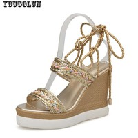 Sexy Summer Women Wedges High Heel(11cm)Sandals Elegant Woman Summer Platform Lace up Sandal Fashion Ladies Gold Open toe Shoes