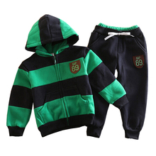 boys clothing sets baby autumn sports cotton long sleeve hoodie+pants 2pcs kids stripe clothes set ws158(China (Mainland))