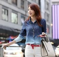 Весна женские длинные Джинсовая рубашка платье Корейская одежда промывают джинсовая куртка вышитые рубашки С50