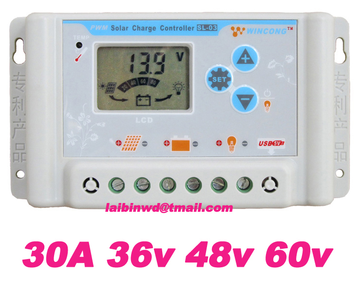 factory directly sale 30A suit 36V 48V 60V wincong sl03-4830a solar Charge Controllers LCD displayg freeshiping(China (Mainland))