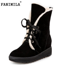 Buy Russia Women Round Toe Flat Mid Calf Boots Woman Lace Shoes Female Warm Thickened Fur Winter Half Botas Size 34-43 for $23.83 in AliExpress store