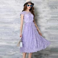 Summer Elegant Lavender Color Fairy Lace Dress Women Sexy Sheer O-neck Slim Long Dresses With Stereo Flower robe longue femme