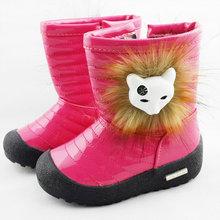 NEW Winter Children  Boots Girls Snow Boots Waterproof Fox Fur PU Leather Boots Side Zipper Cotton Boots Shoes Kids  A-9(China (Mainland))