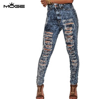 MOGE 2016 Women's Ripped High Waist Stretch Skinny Jean cotton Petite Jeans stretch white denim pencil pant plus size