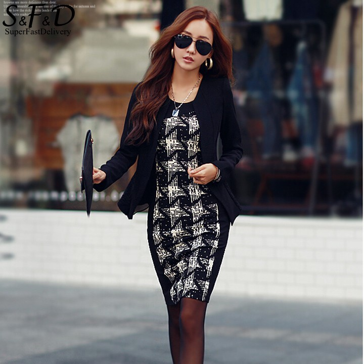 2016 Women Elegant font b Tartan b font Long Sleeve Patchwork Tunic Work Business Casual Party