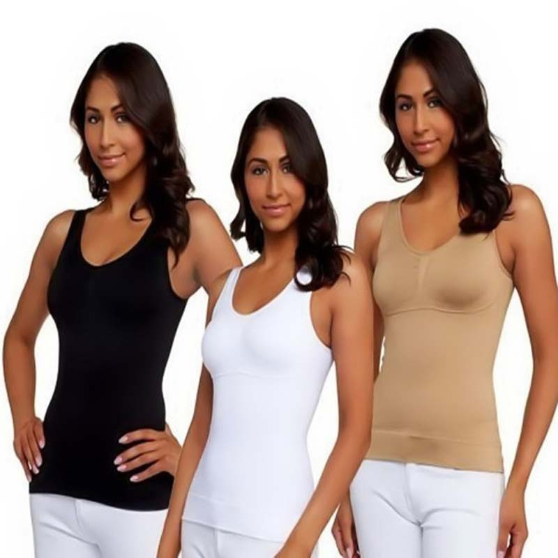 Hot Sale High Quality Solid Slim Women Camis Black/White/Nude Bodybulding Tops With Sleeveless Camisetas Shaper NAR0028(China (Mainland))