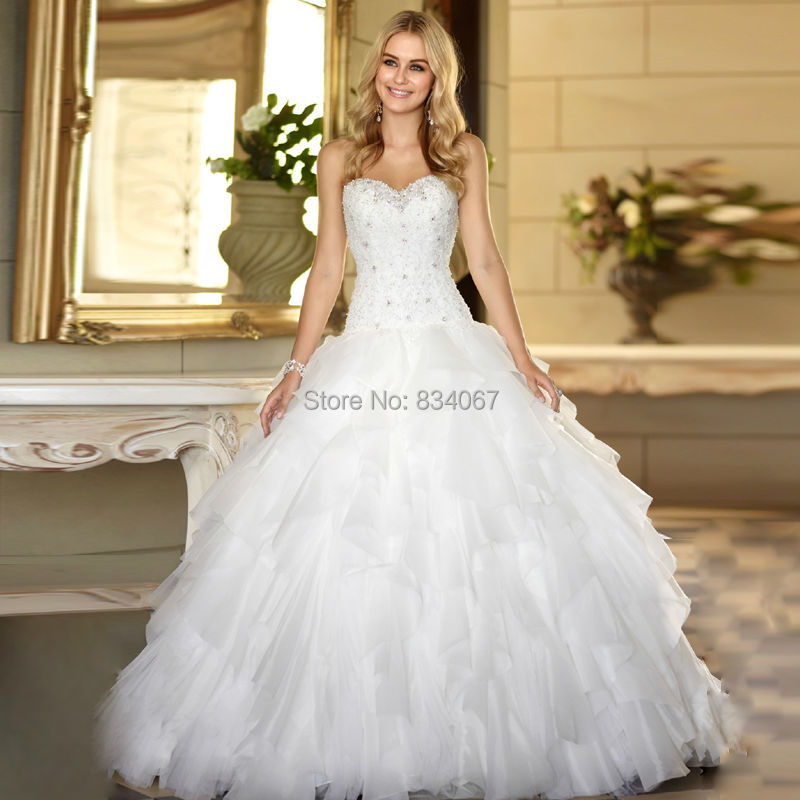 Romantic Bridal Gowns : Aliexpress buy romantic ruffles sweetheart wedding