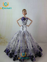 Not Contain the Doll Ucanaan 1 PC Blue Fishtail Wedding Dress For Barbie Doll Limited Collection Elegant Handmade Dress Gift