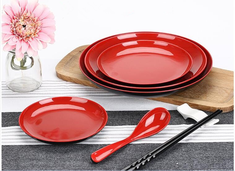 1 ...  sc 1 st  DHgate.com & 2018 Wholesale Melamine Dinner Plate/Dishes Red And Black ...