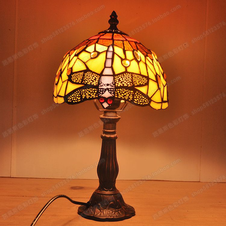 Free delivery to Europe paragraph Dragonfly glazed small lamp Tiffany bedroom study desk lamp antique children's bedside lamp(China (Mainland))