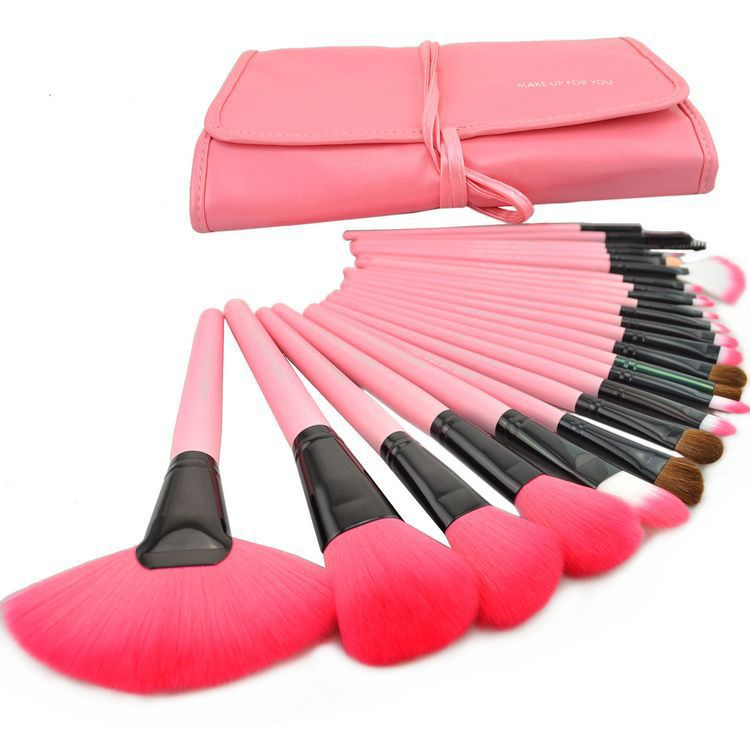 High quality 24pcs Professional Makeup Brushes Set Cosmetic Make up Brush Kit Pink Makeup Tool +Pink Leather Case free shipping<br><br>Aliexpress