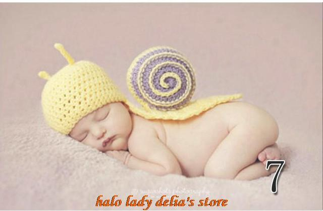5pcs Hand Knitted Crochet Cotton Yellow Snail Animal Baby Beanies Hats Caps Newborn Girl Boy Photography Props For 0-6 Months
