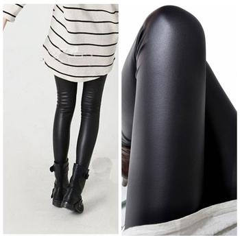 Черный женщины леггинсы искусственная кожа приталенный леггинсы высокая эластичность ...