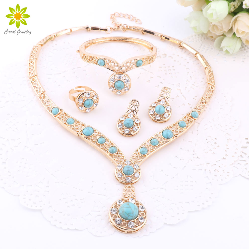 African Beads Gold Plated Nigerian Wedding CZ Diamond Jewelry Sets Crystal Bracelet Earring Ring Jewelry Sets 3Color