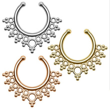 2 Pcs New Arrival Pierced Round Nose Hoop Nose Rings Fake Septum Clicker Non Piercing Hanger Clip On Jewelry Piercing Jewelry