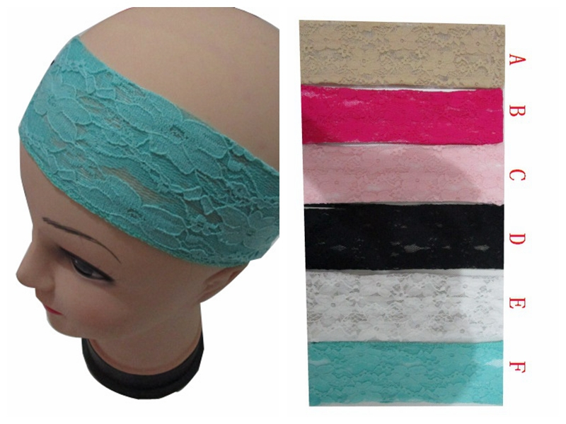 Free shipping 2015 New Fashion Girls Women Plain Color Lace Headband Ladies Elastic Stretch Hairband Hair Accessories(China (Mainland))
