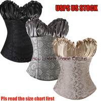 X Black/Gray/Beige Sexy Women Body bustier Lace up Overbust Corset Waist Control Size S-6XL USPS