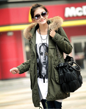 New Korean Army Green Cotton Coat Raccoon Fur Collar The Long Dress Jacket Padded Jacket Outerwear Female Snow Wear Brand parkas