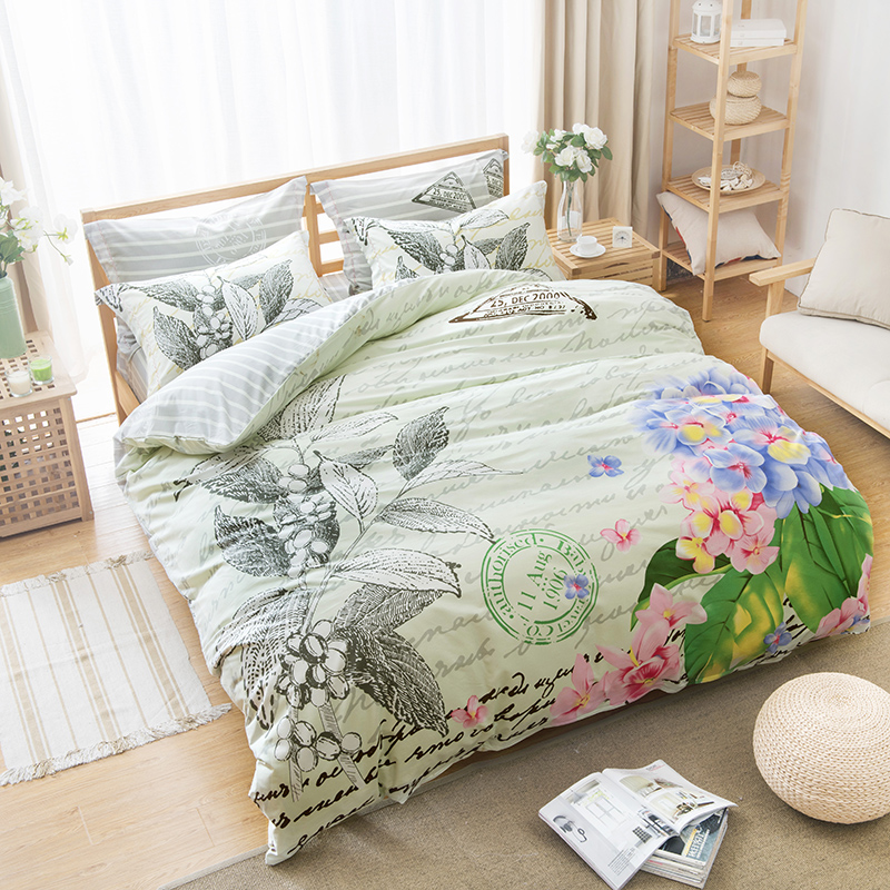 Floral print postmark letter bedding sets 4pcs cotton for Bedding fabric bedding